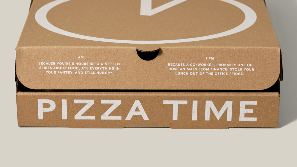 Pizza Time Is Anytime With Round The Clock Pizza Box Dieline Pizza Box Design Pizza Boxes Brand Packaging