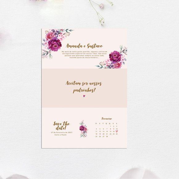 Convite Padrinhos De Casamento Floral Rosa Arte Digital Com