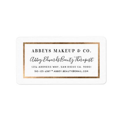 Modern faux gold border business label stickers label stickers
