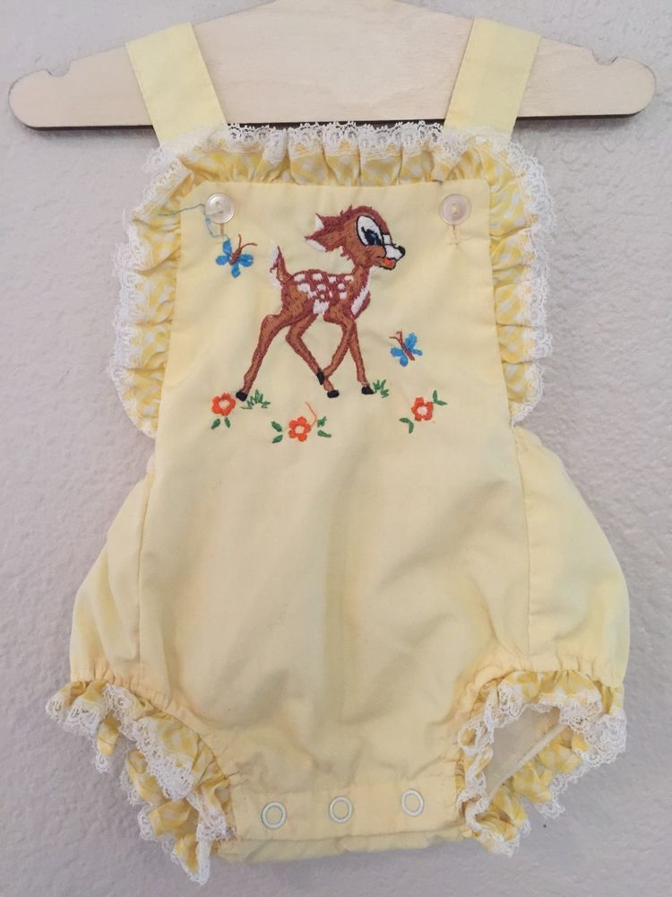 Vintage 50s Baby Girl Disney Bambi Embroidered Sun Suit