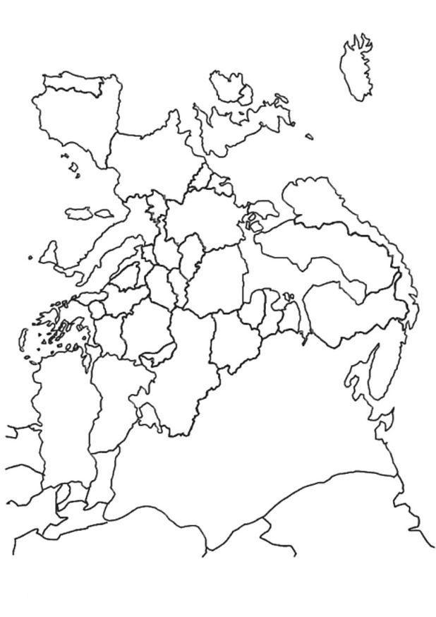 Kleurplaten Landen Europa.Kleurplaat Landkaarten Landkaart Europa Kosmisch Coloring