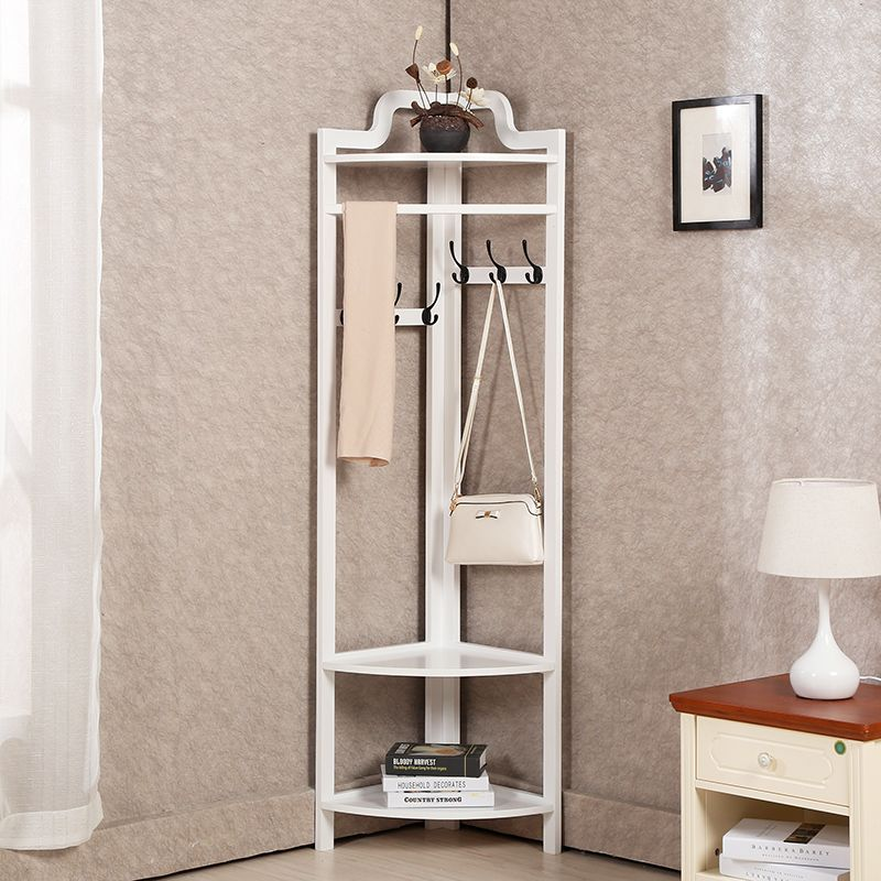 Continental Creative Floor Corner Bedroom Solid Wood Coat Rack Hanger Hanger Modern Multipurpose Clothes Rack Corner Furniture Creative Flooring Decor