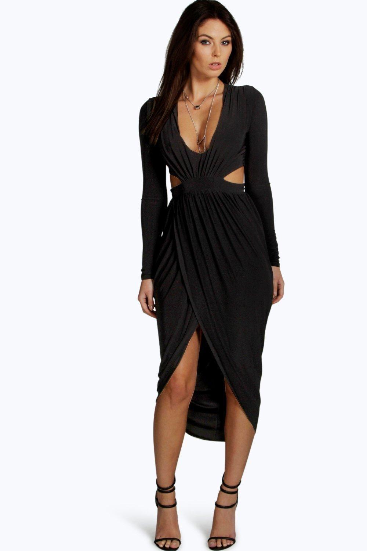 Silvia Cut Out Wrap Midi Dress