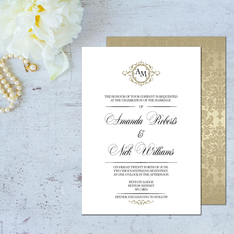 Wedding invitation template, Wedding invitations online, Monogram ...