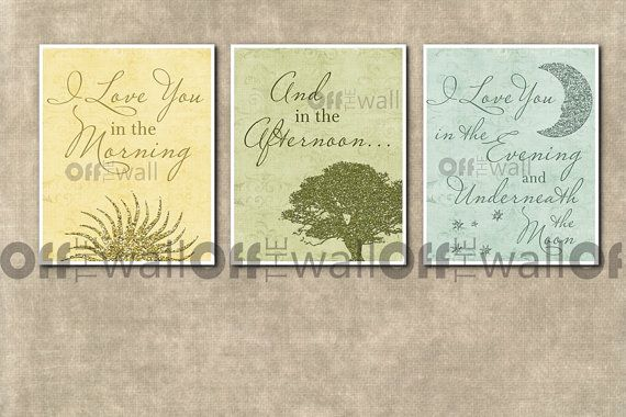 Set of 3 8x10  I Love You in the Morning And by OffTheWallbyLeah, $28.00