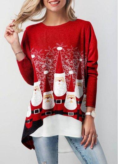 cb47ab851b9 Faux Two Piece Christmas T Shirt in 2019 | fashion | Ropa, Vestidos ...