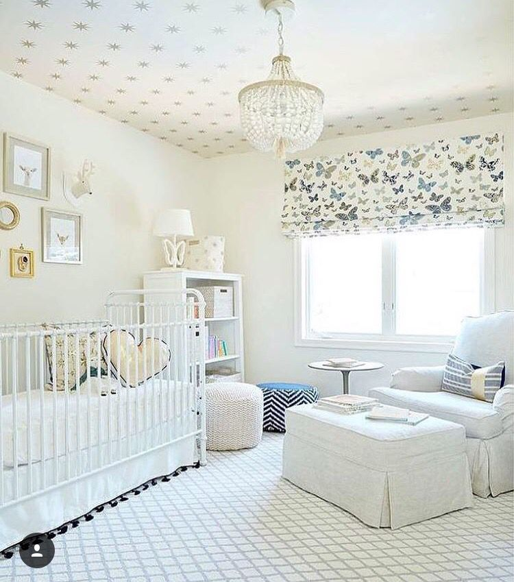 Neutral Gender Nursery Features A Ceiling Clad In Gold Stars Wallpaper Coronata