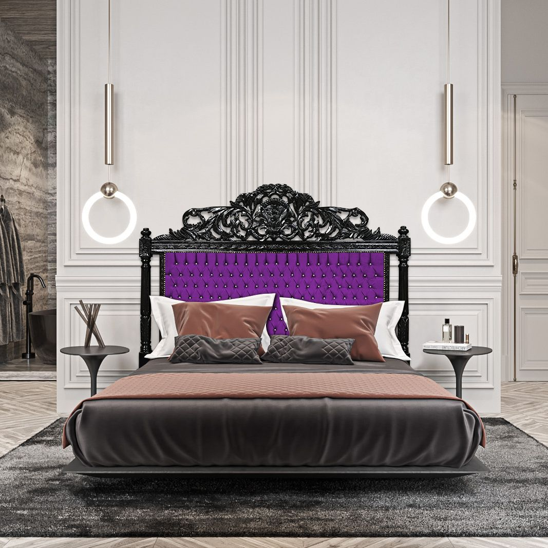 Baroque Bed Headboard Purple Fabric With Rhinestones And Black