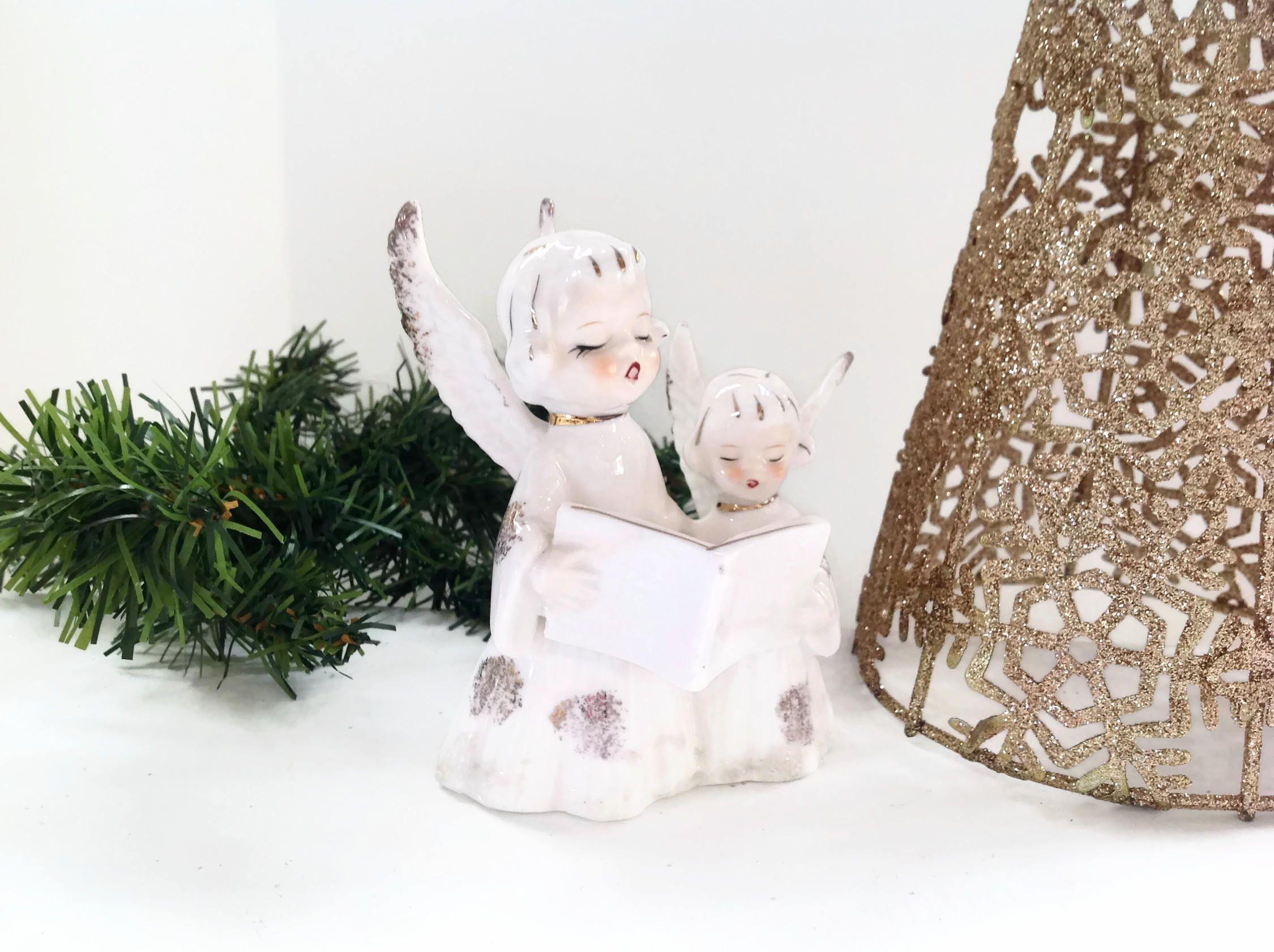 Vintage Angels - White Ceramic Angels, 1950s Angel Figurine, made in ...