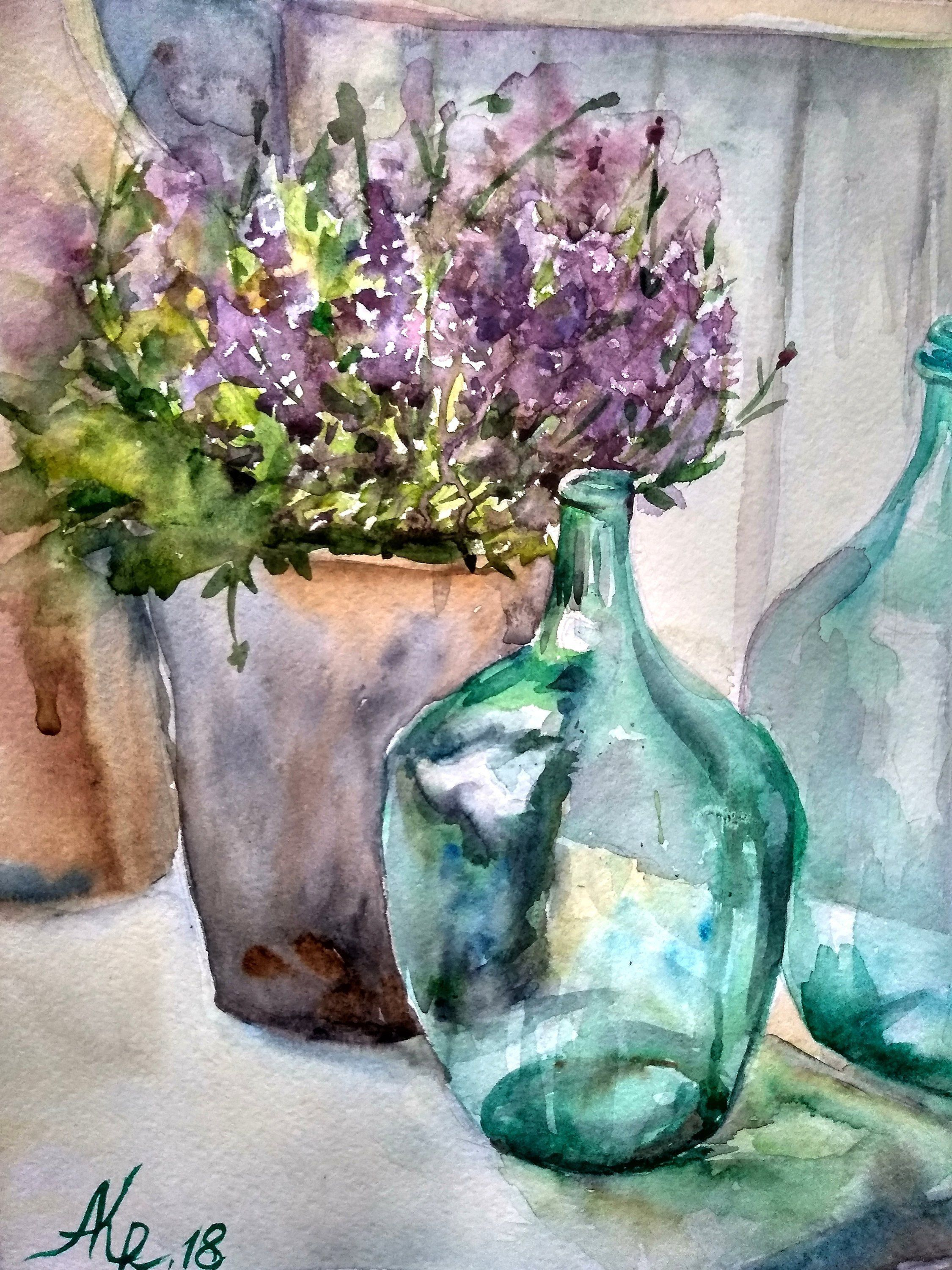 Still Life With Lavender Green Bottles Watercolor Floral Wall