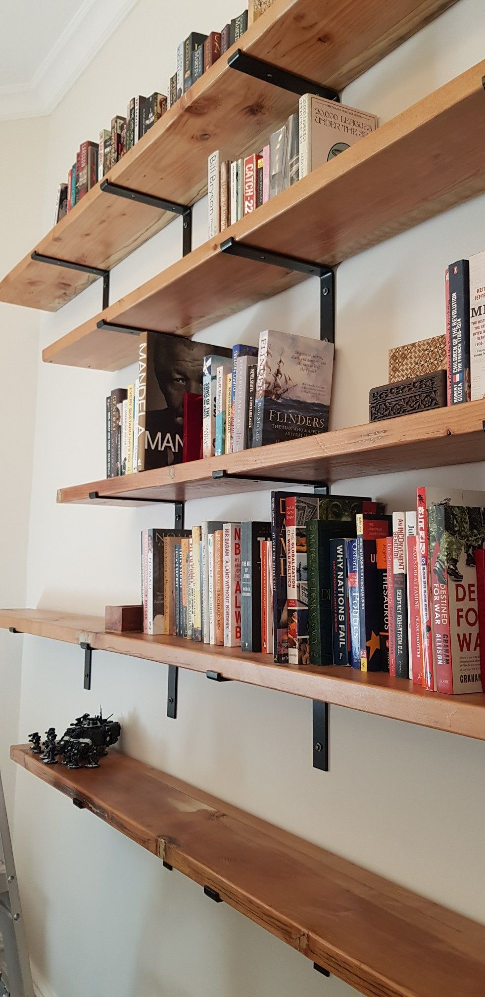 Made By A Couple Who Recycle Timber From Pergolas In The Adelaide Region Fixed Using Lipped Steel Brackets Wall Bookshelves Timber Walls Living Room Bookcase