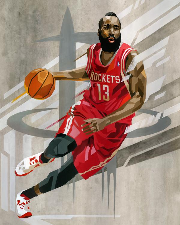 James Harden Geometric Art Nba James Harden Basketball Players