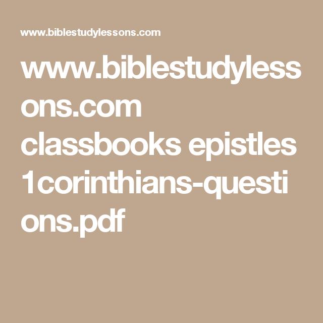 www.biblestudylessons.com classbooks epistles 1corinthians-questions.pdf