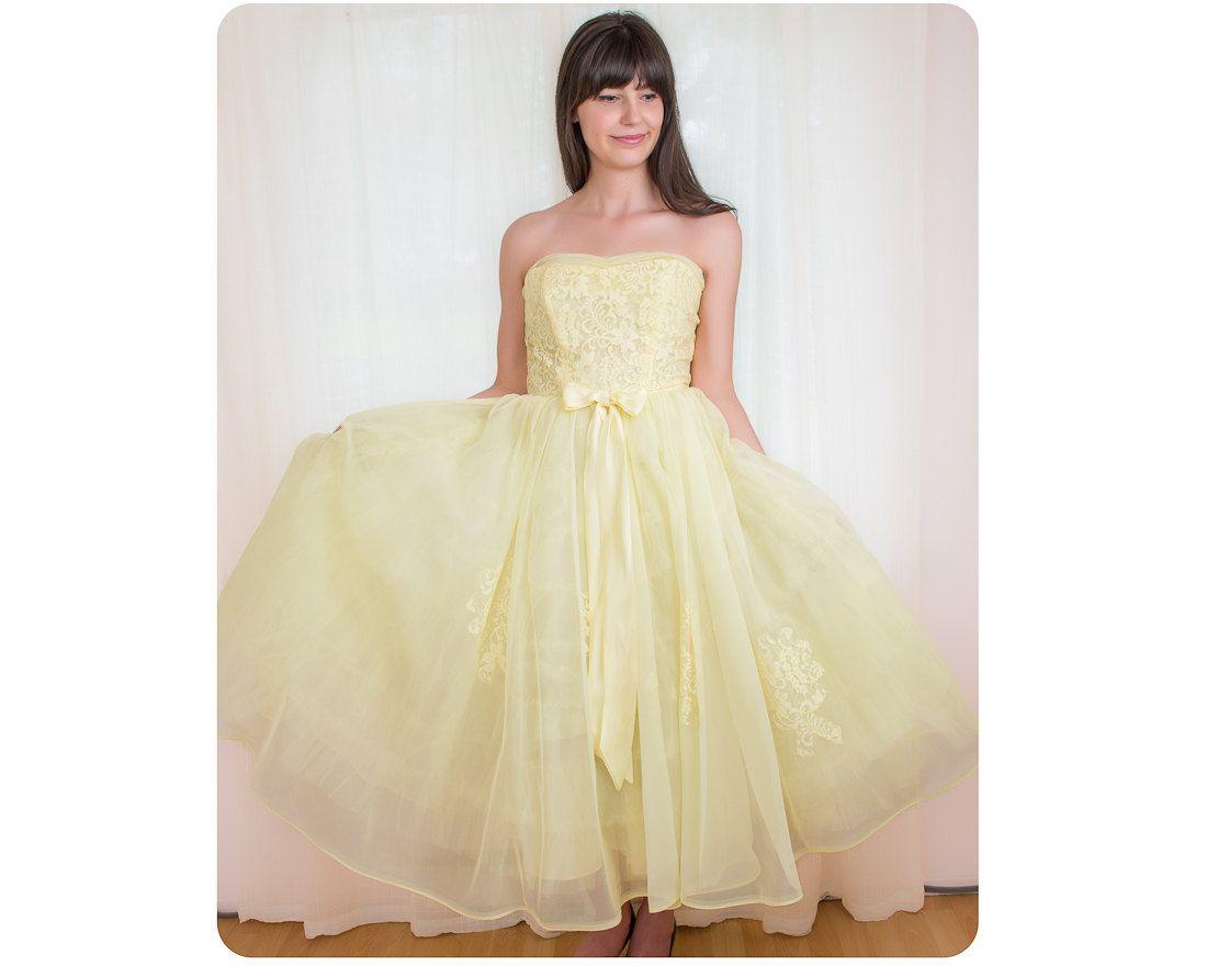 Lace dress 50s  Vintage s Dress  s Yellow Chiffon Dress  Party Prom Dress