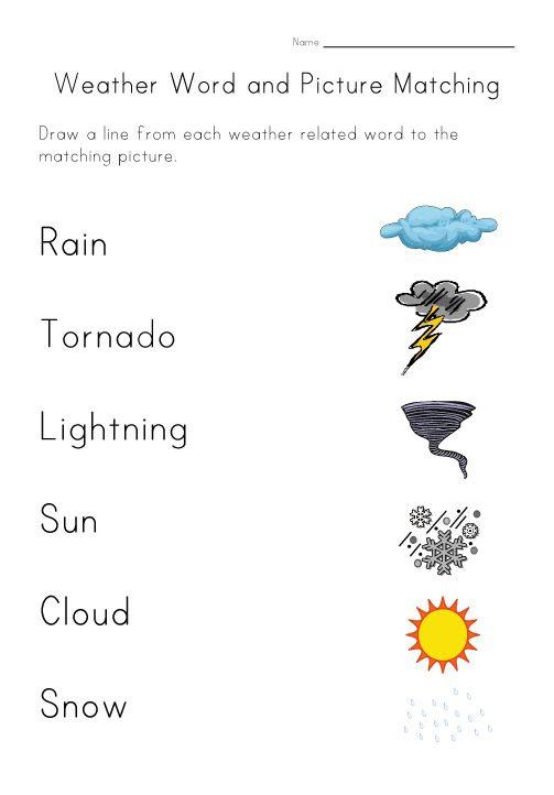 weather worksheet matching | English worksheets | Pinterest