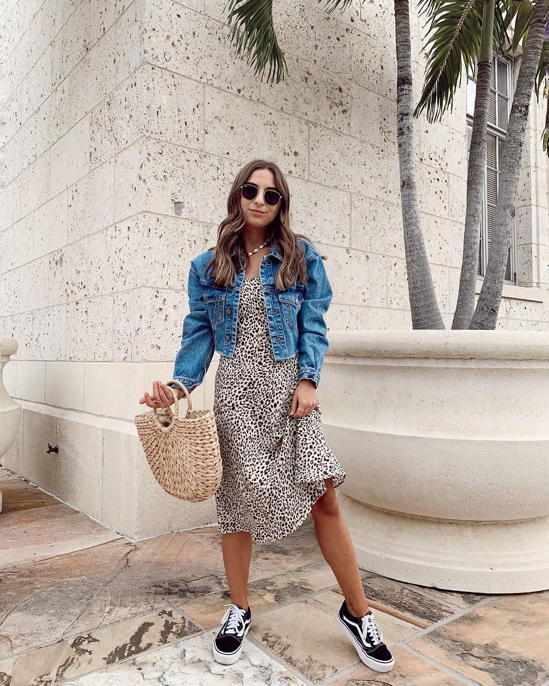 Leopard Midi Dress Outfit For Summer Summerstyle Leoparddress Leopardmididress Strawbag Mididress Dresses With Vans Casual Dress Outfits Midi Dress Outfit [ 1350 x 1080 Pixel ]