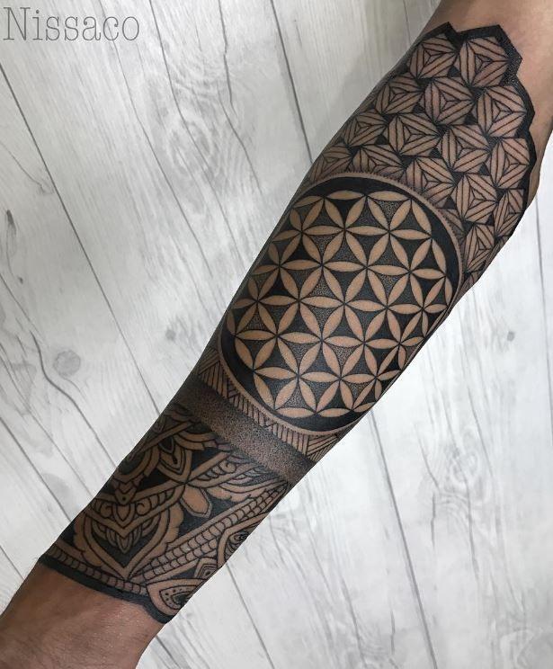 Geometric Half Sleeve Tattoo Inkstylemag Geometric Sleeve Tattoo Flower Of Life Tattoo Pattern Tattoo