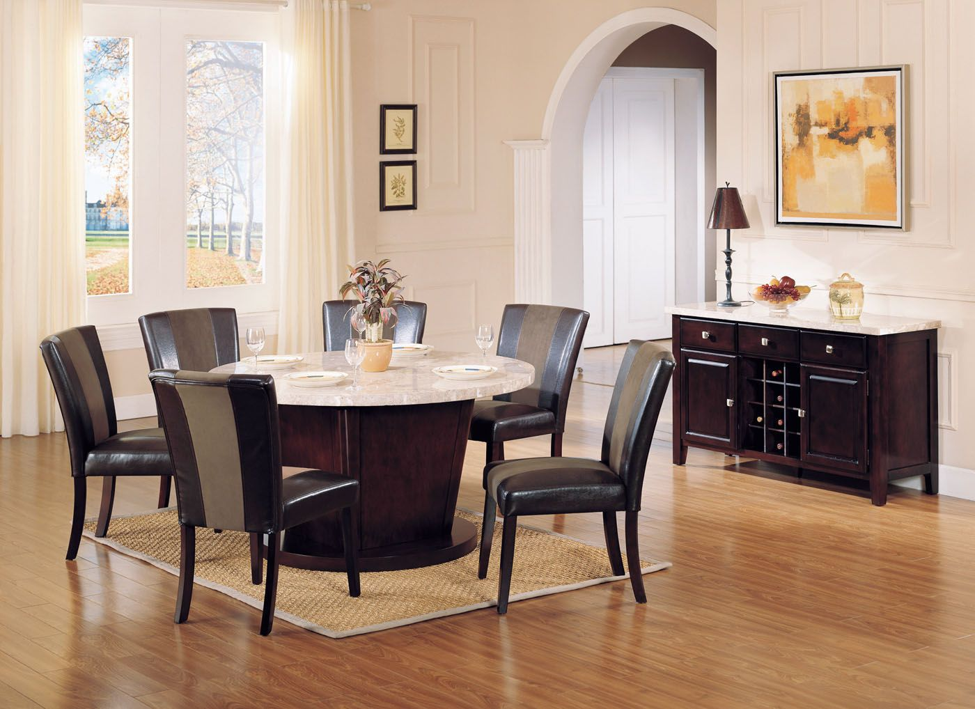 Acme Britney 7 pc Transitional Round Dining Set
