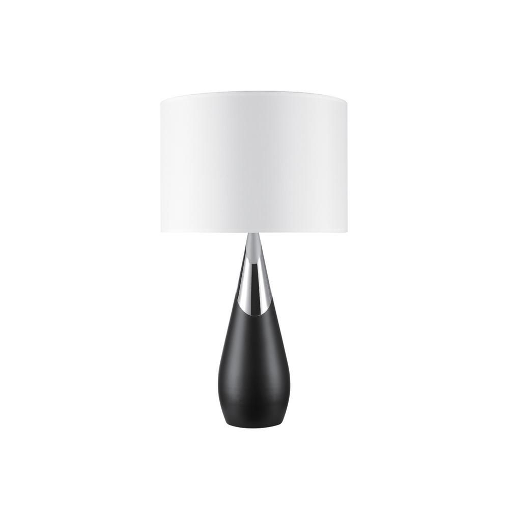 Novogratz X Globe Electric Lexell 25 In Matte Black And Chrome Table Lamp With White Fabric Shade Table Lamp White Table Lamp Buffet Table Lamps