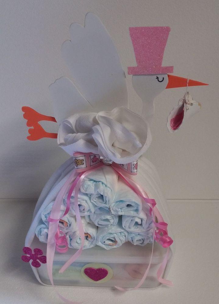 Windeltorte Windelbndel rosa Babygeschenk Taufgeschenk
