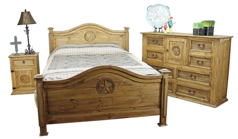 Mexican Pine Furniture Texas Star Rustic Pine Bedroom Set - Star bedroom furniture
