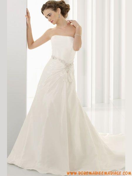 Robe de mariée bustier transparent 2012 longue ivoire taffetas