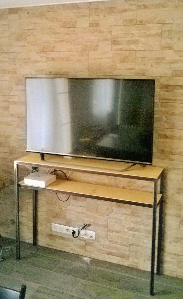console meuble tv acier et pin
