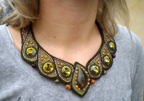 Bead Embroidery  Collar Necklace    Hope  Seed beaded by Vicus, $350.00