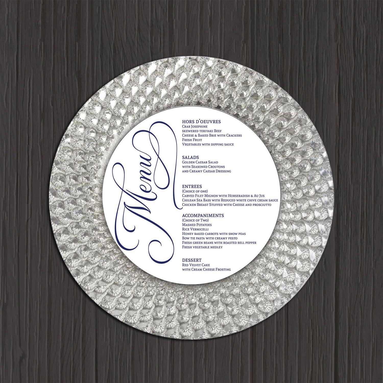 Wedding Menu Printable Round Circle Template