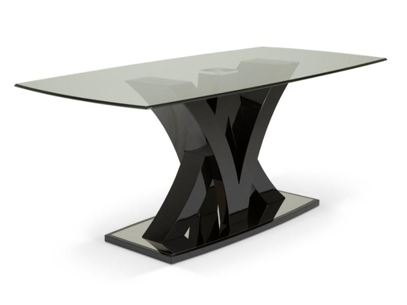 Contemporary Dining Table In Stainless Steel With Glass Top