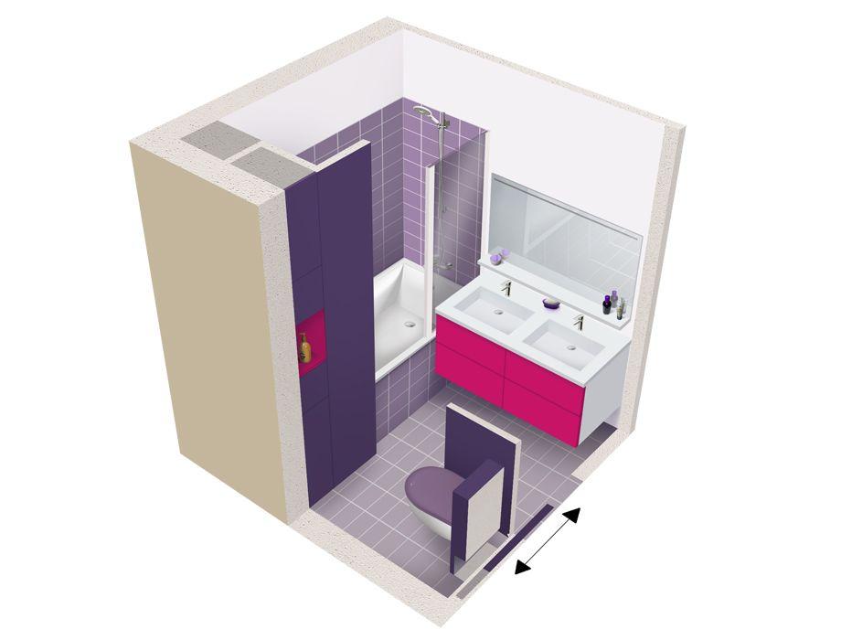 Salle de bains carr e 4m sdb pinterest carr s for Specialiste sdb