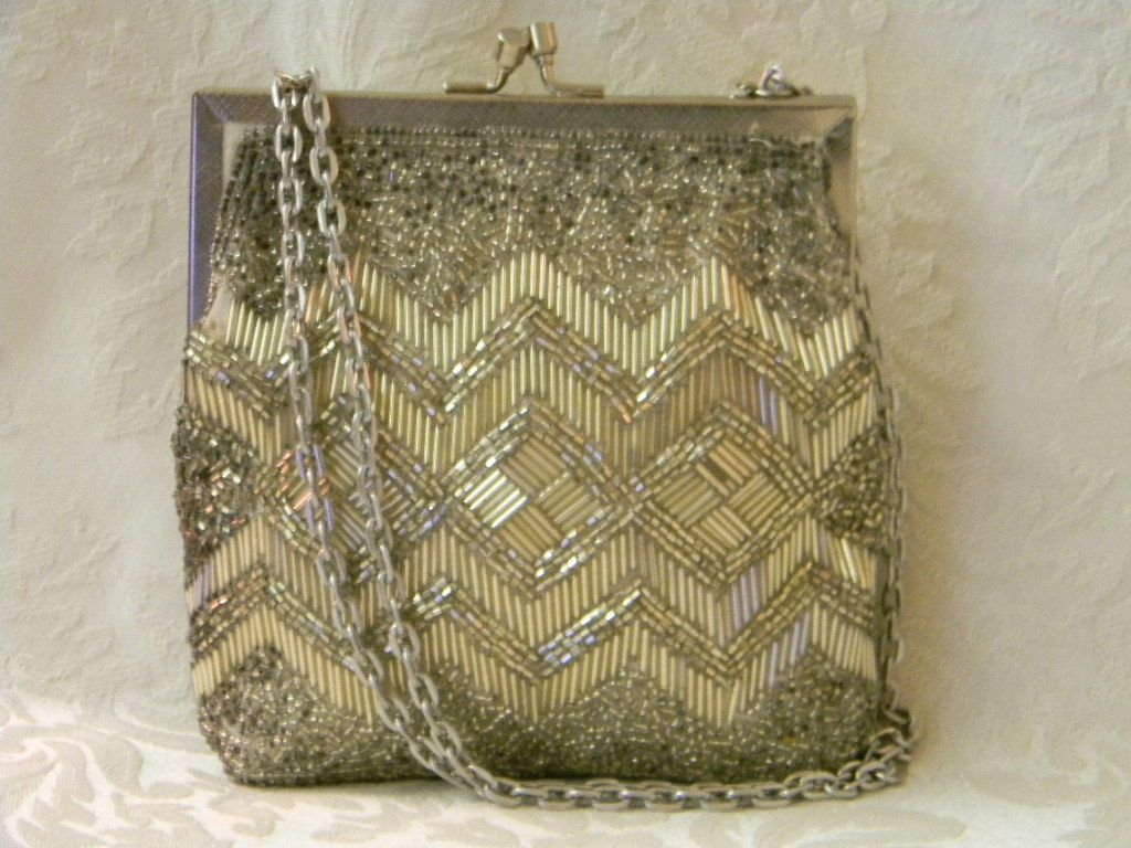 Vintage Bugle Beaded Chevron Walborg Handbag Clutch