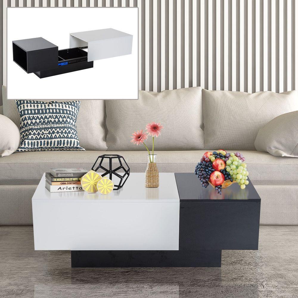 Details about coffee table storage unit sliding top black white