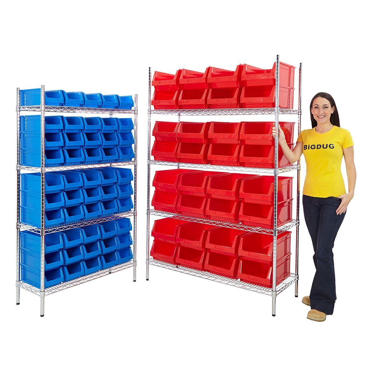 Chrome Shelving Bin Kits - Plastic Parts Bin from BiGDUG UK  sc 1 st  Pinterest & Chrome Shelving Bin Kits - Plastic Parts Bin from BiGDUG UK | Book ...