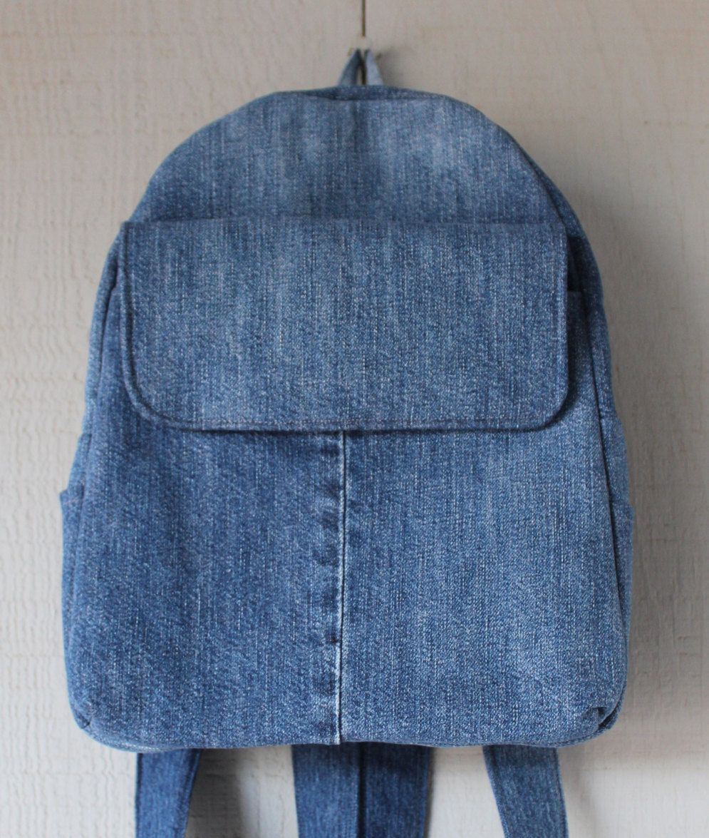 Denim Backpack with Large Front Velcro Pocket, Two Side Pockets, Two Interior Pockets and Lined with a Pink and Blue Floral Cotton by AllintheJeans on Etsy