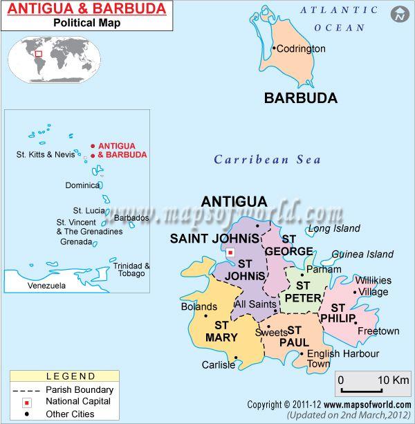 Antigua Barbuda Political Maps Antigua Greater Antilles