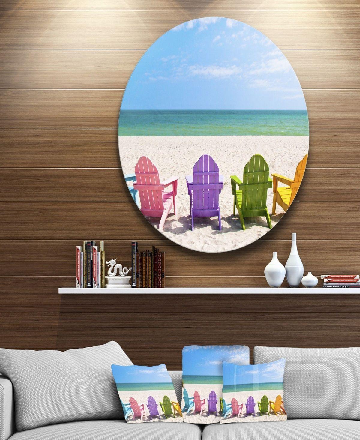 Designart Adirondack Beach Chairs Seashore Photo Circle Metal