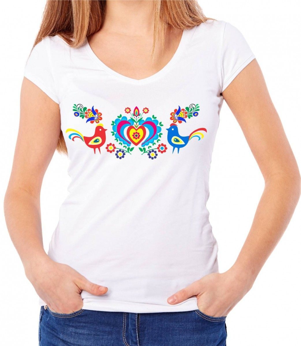 53c7bc932 Dámské tričko - lidový vzor ptáčci | Ornamenty | Trička, Dámská ...