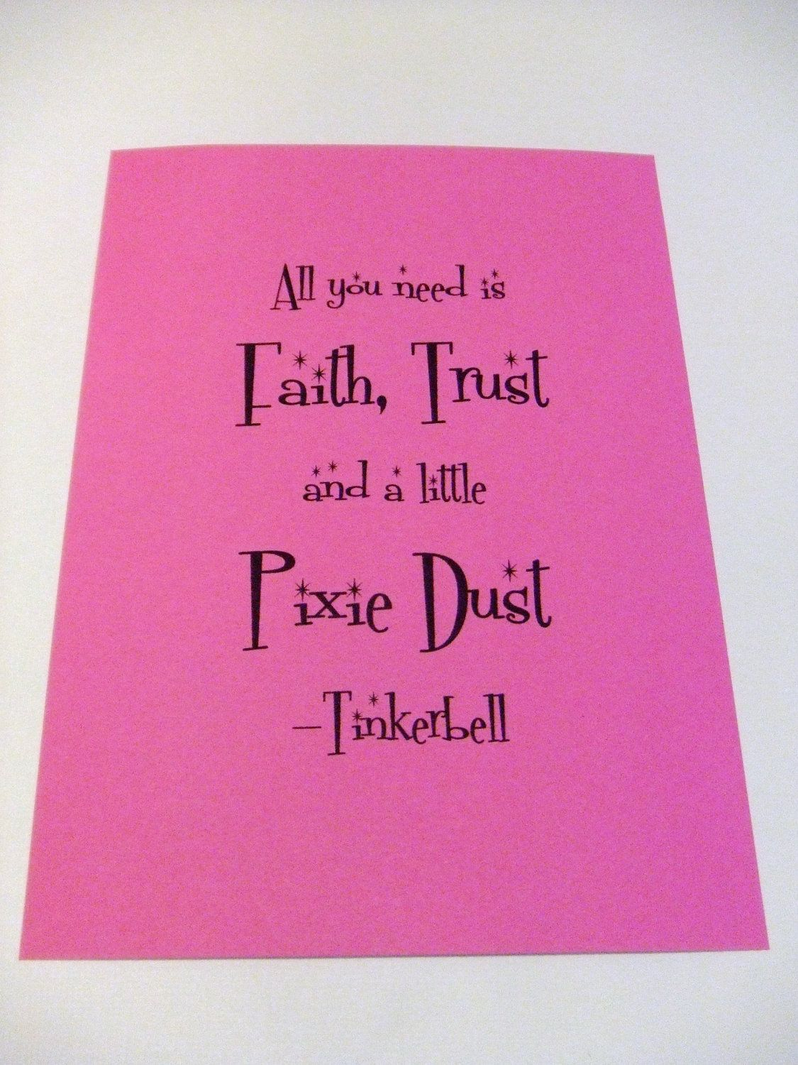 A Little Pixie Dust Fuschia Pink Tinkerbell Quote Note Card