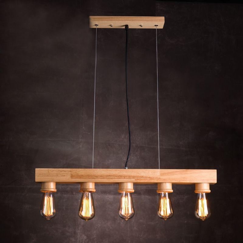 Kaufen EU LagerLandhaus Pendelleuchte Holz 5 Flammig Mit Gnstigste Preis Und Gute