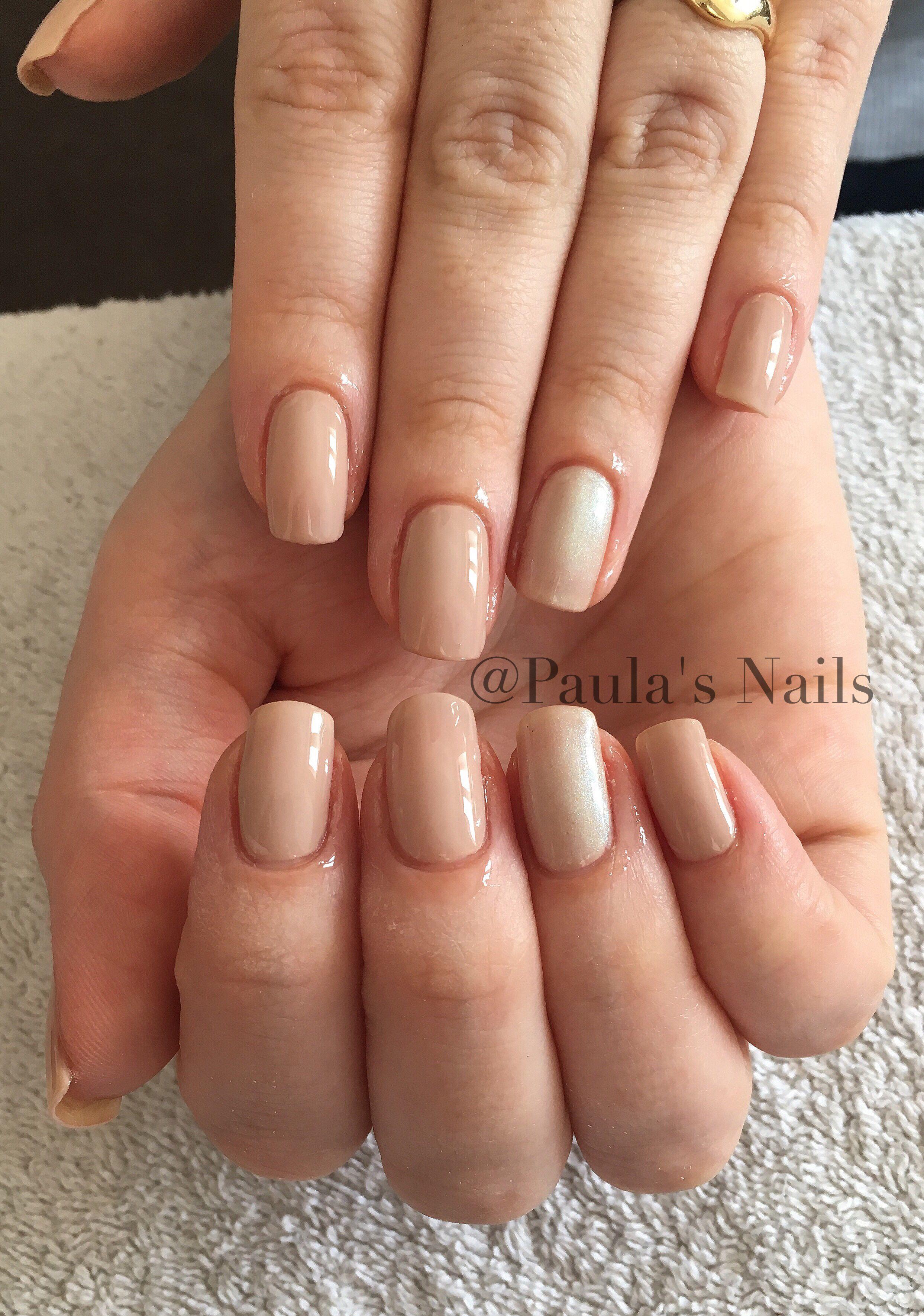 Gel polish manicure 💅🏻😍 beige with crushed pearls 💎 | Gel ...