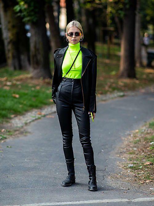 4 façons de porter la veste en cuir cet automne | Looks neon