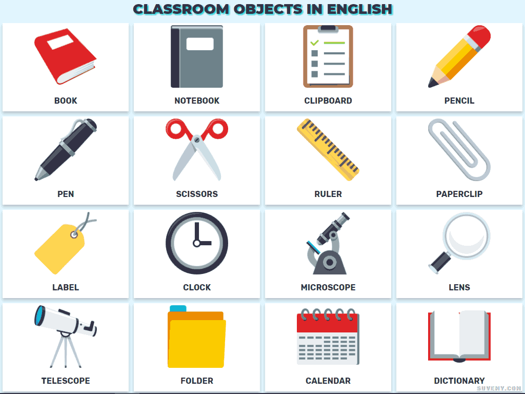 Classroom Items In English Vocabulary Of The Classroom Objects In English Worksheet