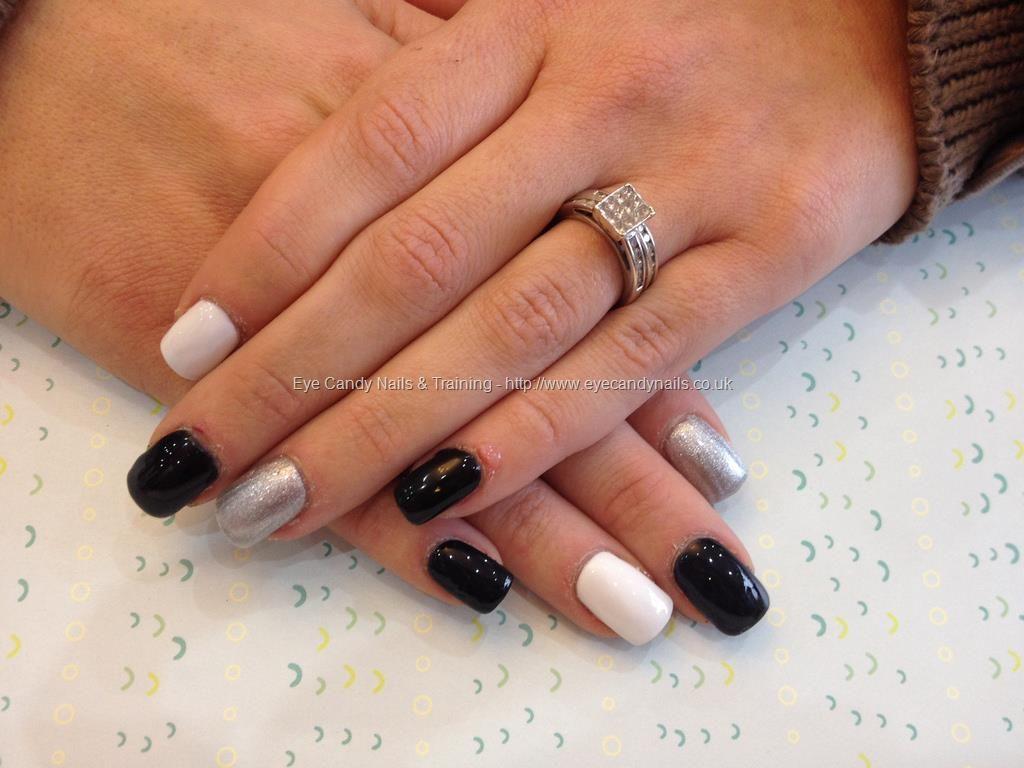 Black Silver White Gel Polish Nailart