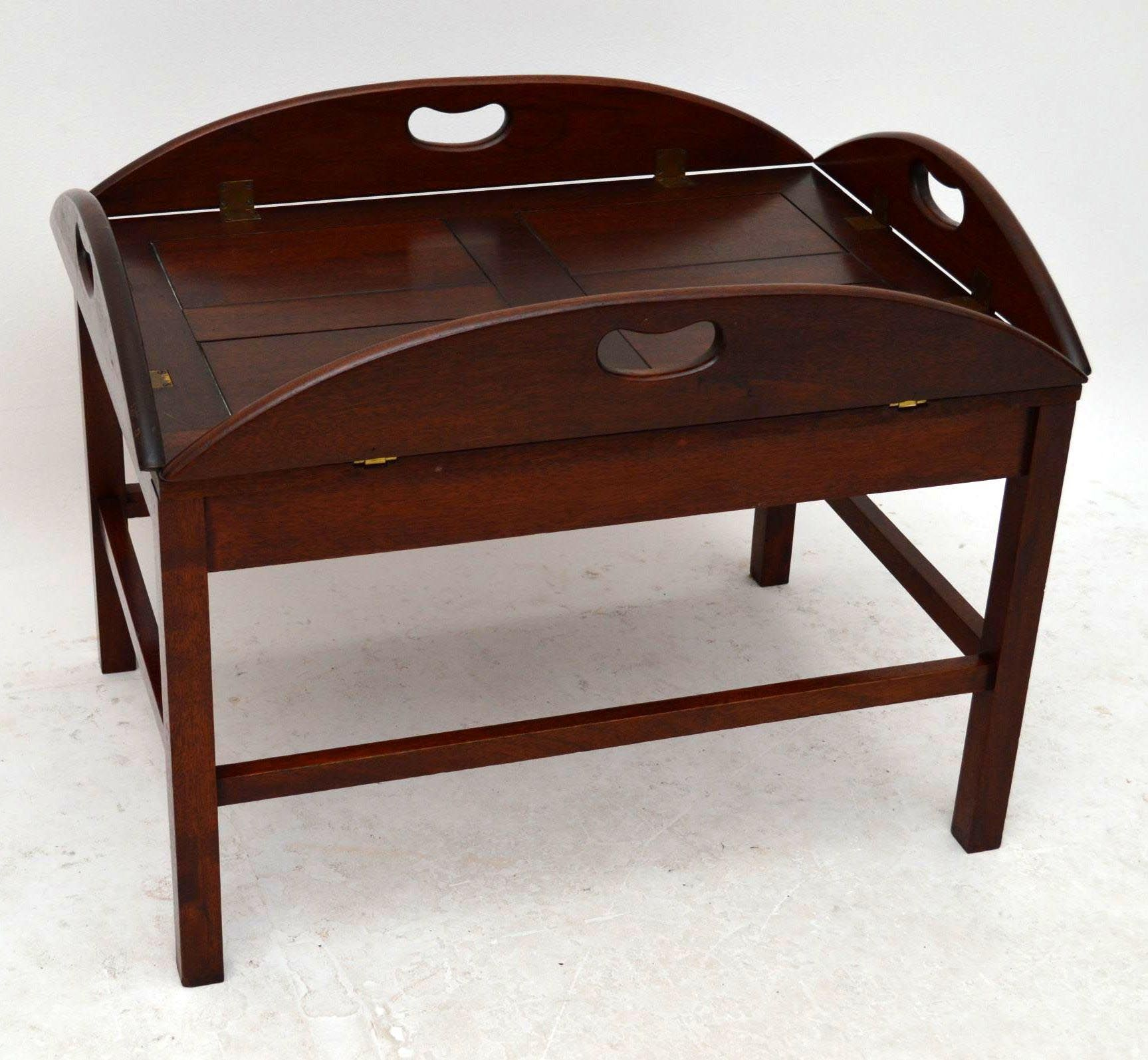 Vintage Butler Coffee Table: Mahogany Butler Tray Coffee Table