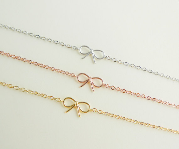Tiny Small Cute Gold Bow Bracelet Choose One Silver Rose 13 00 Via Etsy