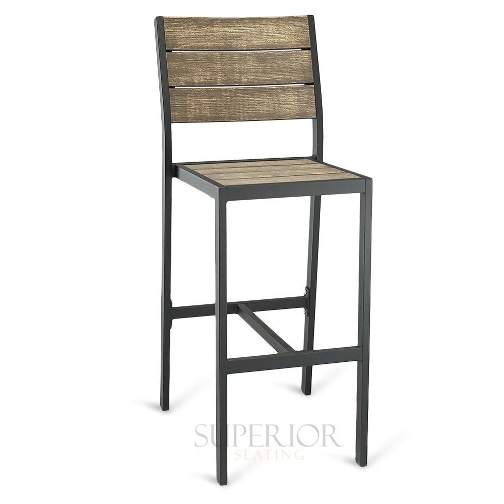 Outdoor Aluminum Bar Stool With Brushed Brown Synthetic Teak Wood