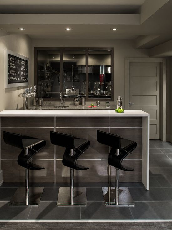 Exciting Contemporary Bar For Basement Also Unique Modern Black