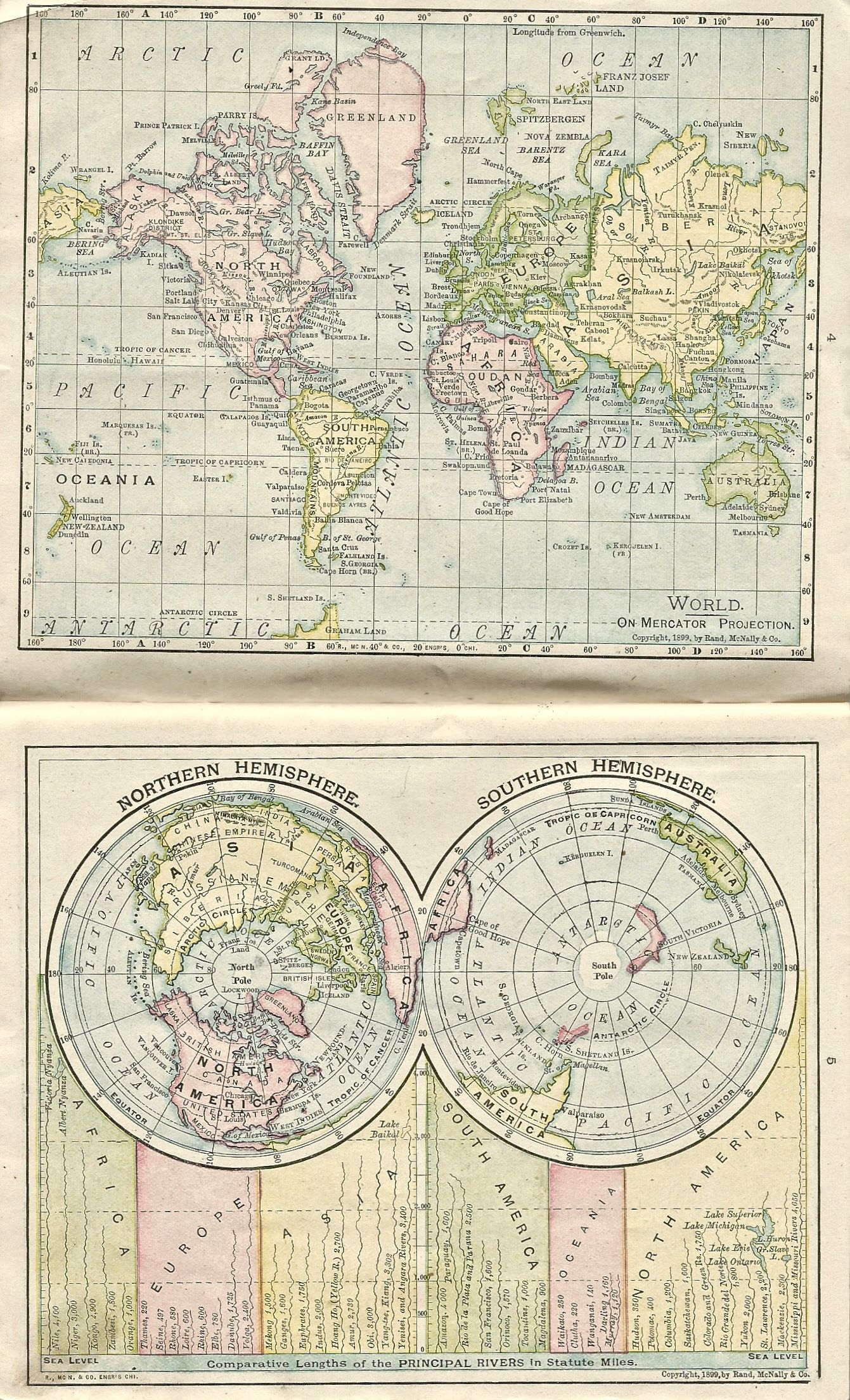 1899 maps of the world on mercator projection and the northern and 1899 maps of the world on mercator projection and the northern and southern hemispheres gumiabroncs Image collections