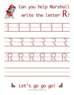 Learn To Write The Letter R With Paw Patrol Life As A Moore